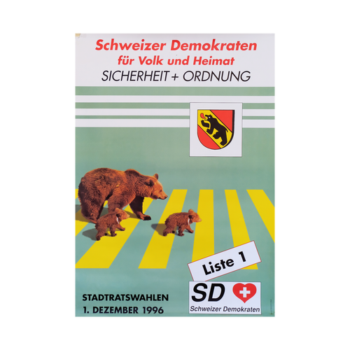 Original Swiss Democrats Bears Political Campaign Poster 1996