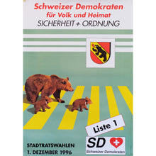 Load image into Gallery viewer, Original Swiss Democrats Bears Political Campaign Poster 1996
