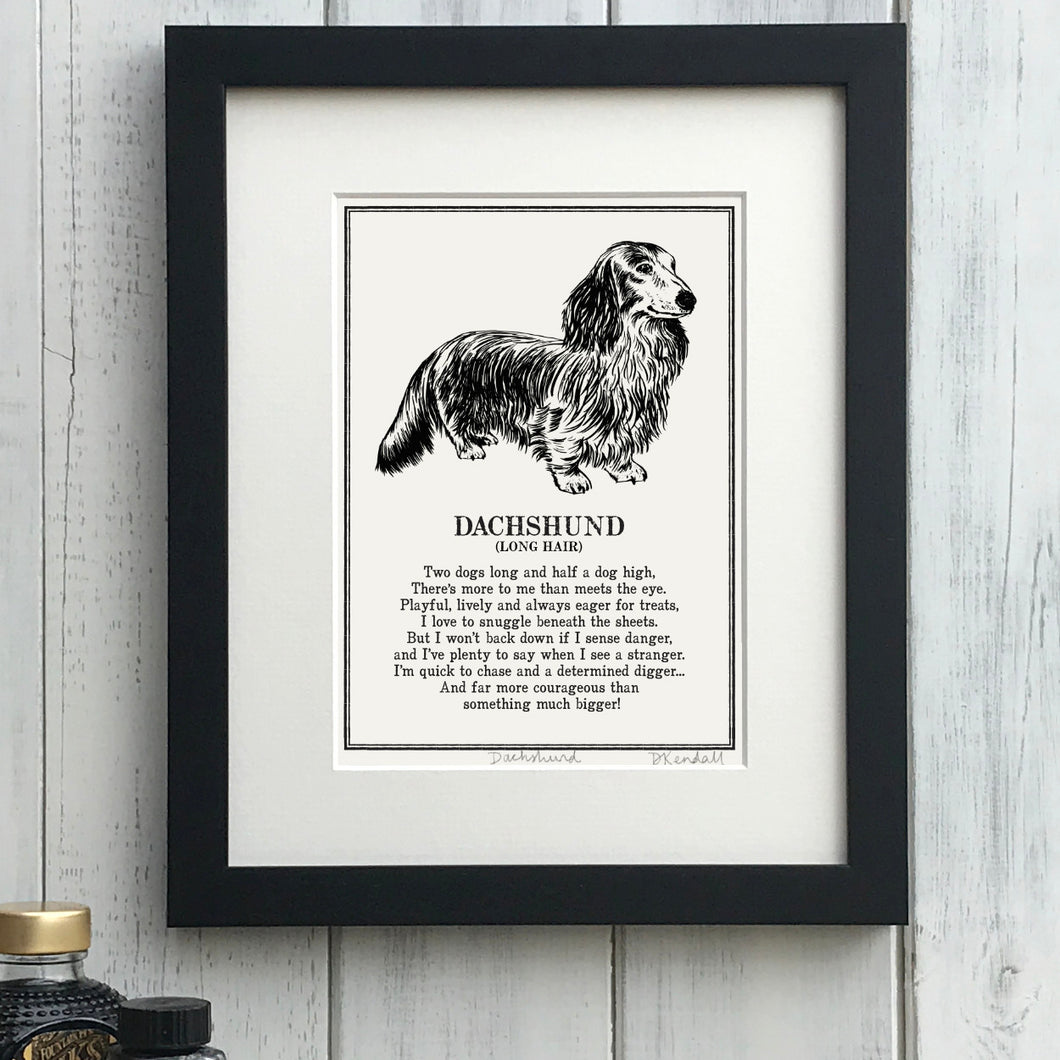 Long Haired Dachshund - Doggerel Print