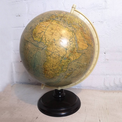 Vintage East German 1950s Physical Earth Globe By Raths Leipzig