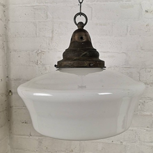Load image into Gallery viewer, Early 1900s Very Large Opaline Glass Pendant Light