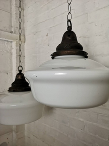 Early 1900s Very Large Opaline Glass Pendant Light