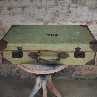 Vintage Leather and Canvas Suitcase Travel Case Vintage Prop Staging GWL