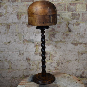 Antique Milliners Hat Mould Block Stand Shop Haberdashery Oak Barley Twist Stand