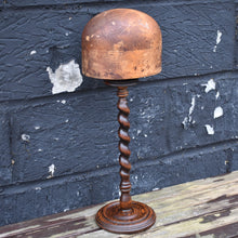 Load image into Gallery viewer, Antique Milliners Hat Mould Block Stand Shop Haberdashery Oak Barley Twist Stand
