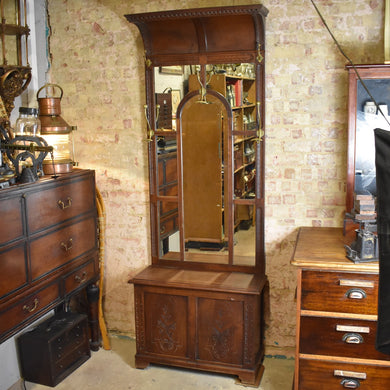 Antique Edwardian Hat and Coat Stand Hall Stand Oak Brass Mirror