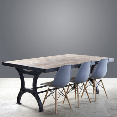 Steel Framed Dining Table on Cast Iron Legs - 2