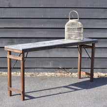 Load image into Gallery viewer, Industrial Reclaimed Zinc Top Folding Console Table