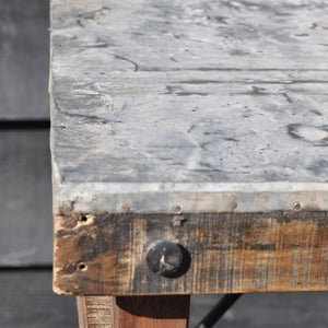 Industrial Reclaimed Zinc Top Folding Console Table
