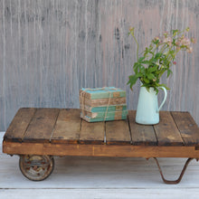 Load image into Gallery viewer, Industrial Vintage Dark Timber Small Wheeled Coffee Table