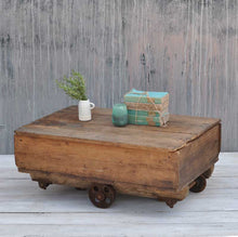 Load image into Gallery viewer, Vintage Industrial Large Factory Wheeled Cart Coffee Table