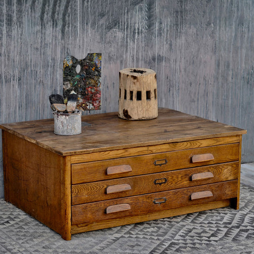 Vintage Plan Chest Coffee Table / Oak Drawers
