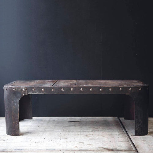 Rectangular Water Tank, Coffee Table with Rivet Detail