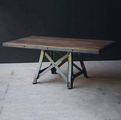 Industrial Dining Table with Original Cast Iron Base in Green