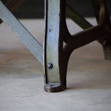 Load image into Gallery viewer, Industrial Dining Table with Original Cast Iron Base in Green