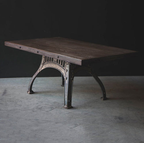 Henry Bamford Industrial Dining Table - Cast Iron Base with Gold/Bronze Detailing