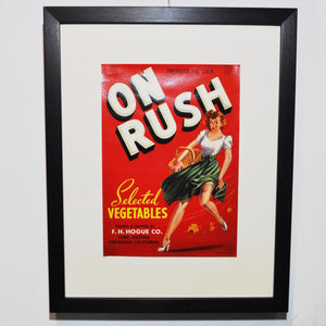 Original 1950s 'Pin Up' Vegetable Crate Label