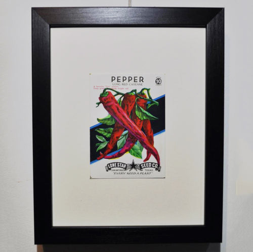 Framed Original 1940s Seed Packet - Chili Pepper