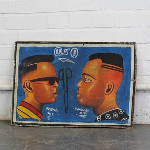 Hand Painted African Barbers Sign Circa 1980s