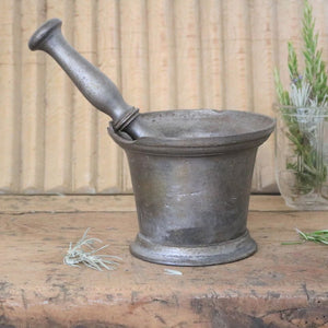 Antique Iron Pestle and Mortar