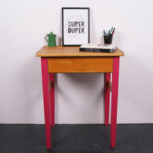 Load image into Gallery viewer, Children's wooden school desk with pink hinges and legs