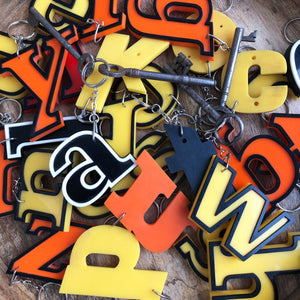 Reclaimed Letter Keyrings - Banded Perspex