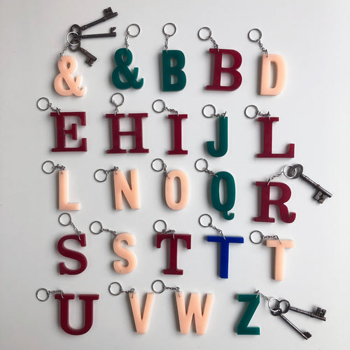Reclaimed Letter Keyrings - Multicoloued Uppercase Perspex