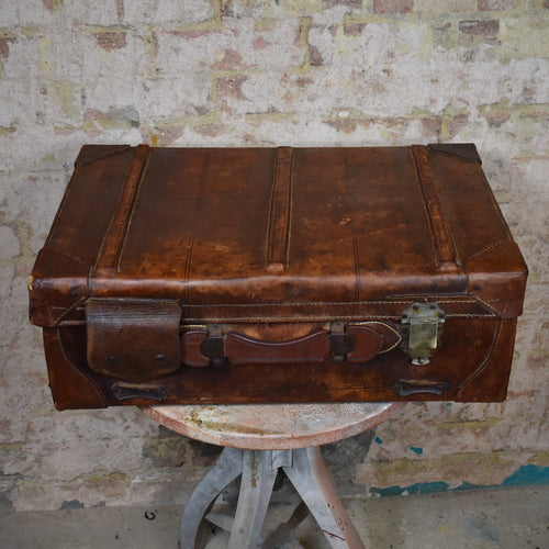 Vintage Leather Suitcase Travel Case Vintage Prop Staging