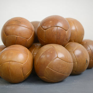 Czech Leather Medicine Balls Circa 1950s