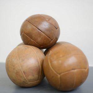 Small Leather Medicine Balls Circa 1950s