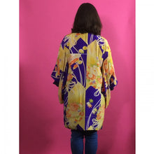 Load image into Gallery viewer, 1920s Purple, Yellow & Orange Floral Silk Vintage Haori Jacket