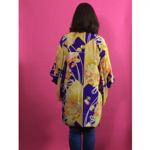 1920s Purple, Yellow & Orange Floral Silk Vintage Haori Jacket