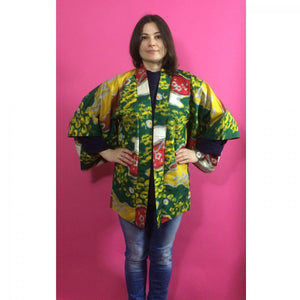 1920s Green, Yellow & Red Floral Silk Vintage Haori Jacket