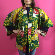 Load image into Gallery viewer, 1920s Green, Yellow & Red Floral Silk Vintage Haori Jacket