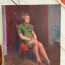 Load image into Gallery viewer, Portrait of Lady on a Red Chair - Oil Painting on Board