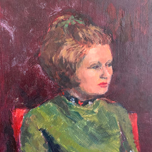 Portrait of Lady on a Red Chair - Oil Painting on Board