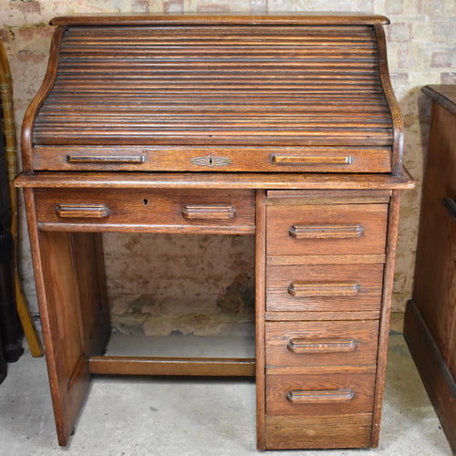 Antique 1920's Oak Tambour Roll Top Desk Bank of Drawers Office