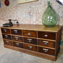 Load image into Gallery viewer, Antique Shop Counter Drawers Kitchen Island Bank of Drawers