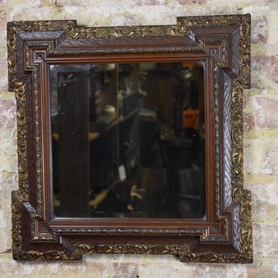 Antique Mirror Gilt Square Bevelled Glass Original Decorative