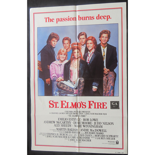 1985 St Elmo's Fire Film Poster