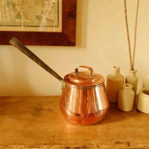 Vintage Wooden Handled Copper Pan