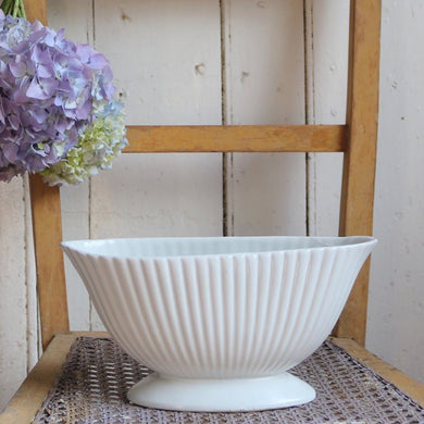 Dartmouth Devon Pottery Vase White Fluted Vintage Planter