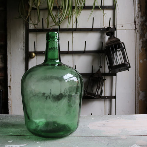 Small Green French Vintage Glass Carboy Bottle