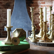 Load image into Gallery viewer, Pair of Antique Cast Brass Art Deco Candlesticks Holder