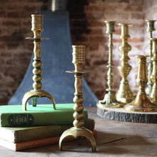 Load image into Gallery viewer, Pair of Antique Aged Brass Candlesticks