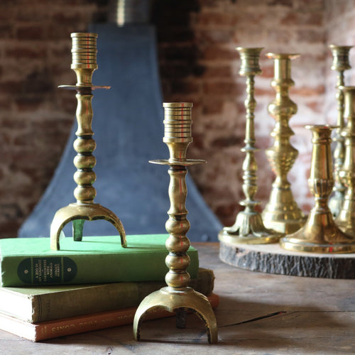 Pair of Antique Aged Brass Candlesticks