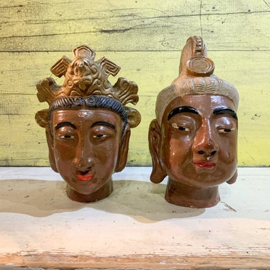 Hand Painted Indian Earthenware Heads - Pair