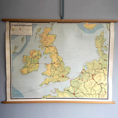 Vintage Wooden Battened Map from Holland - UK Landscape