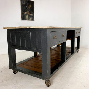Vintage Painted Pine Baker's Table Kitchen Island
