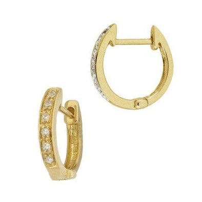 14K Gold Diamond Huggie Hoops - xohanalei